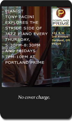 Tony Pacini performs solo piano every Thursday at Portland Prime.