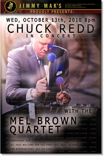 Tony Pacini and the Mel Brown Quartet Perform with vibraphonist Chuck Redd Wednesday October 13th, at Portland's Premiere Jazz Club, Jimmy Mak's.