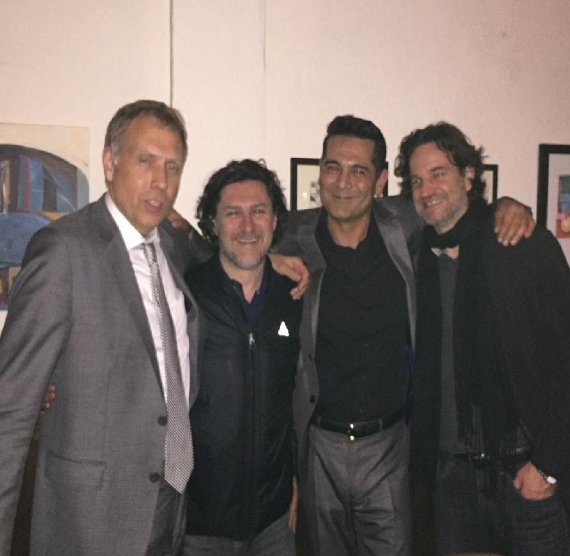 Backstage after the show. From left to right: Drummer Chuck Redd, Ciro Fusco, pianist Tony Pacini, and actor Jean Luc.